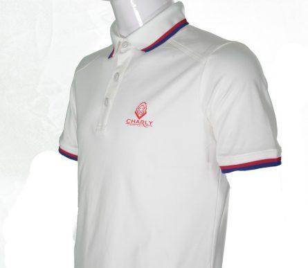 Áo Charly cộc tay trắng có gân CHL-ACT1MG-T