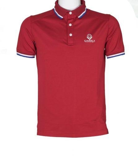 Áo Charly cộc tay đỏ có gân CHL-ACT1MG-DO