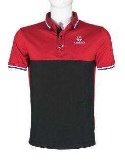 Áo golf Charly cộc tay phối màu đỏ đen CHL-ACTPM-DD