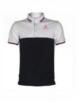 Áo golf Charly cộc tay phối màu trắng đen CHL-ACTPM-TD