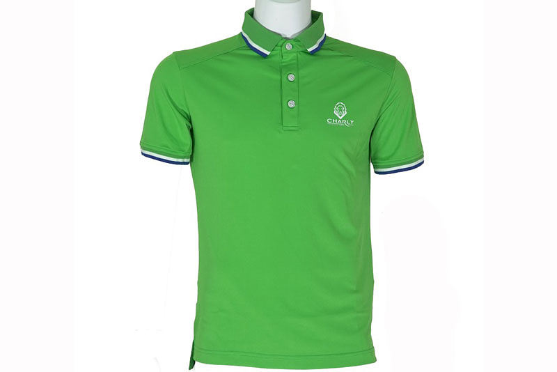 Hình ảnh áo Charly cộc tay xanh lá có gân CHL-ACT1MG-XL