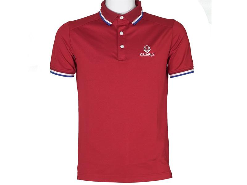 Hình ảnh áo golf cộc tay đỏ có gân