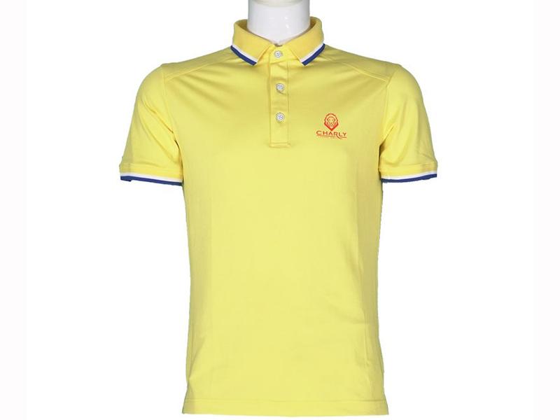 Áo golf Charly cộc tay vàng có gân