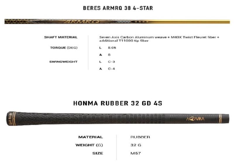 Thông số kỹ thuật Driver Honma New Beres Ladies 4 sao E-07
