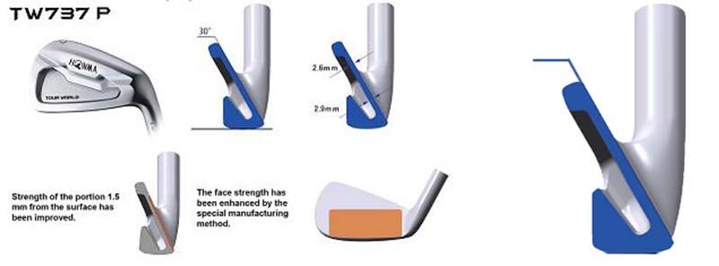 Gậy sắt Honma TW737P 850G có trọng tâm thấp, điểm nhấn dày hơn