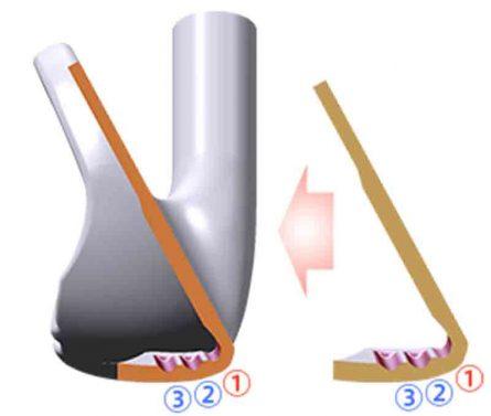 Ba khe cắm trên mặt bích duy nhất là một phần của cấu trúc mặt gậymới, giúp tăng lực đẩy của mặt gậy
