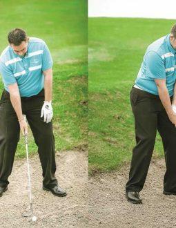 Mở mặt gậy hướng sang phải để cú đánh cát golf chuẩn nhất