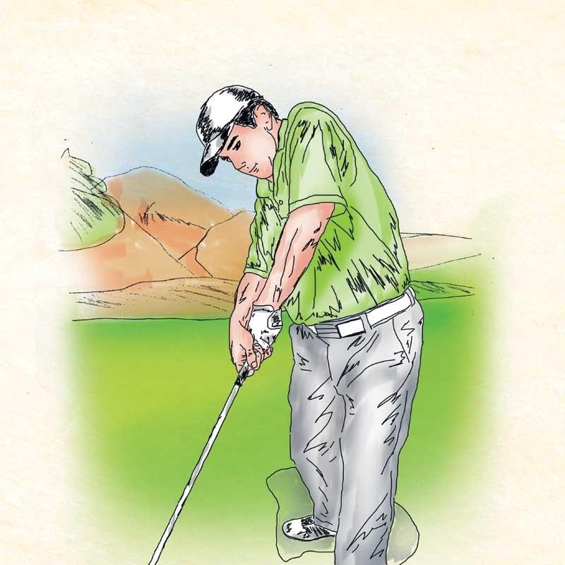 Giữ tay trái thẳng và căng lên khi backswing