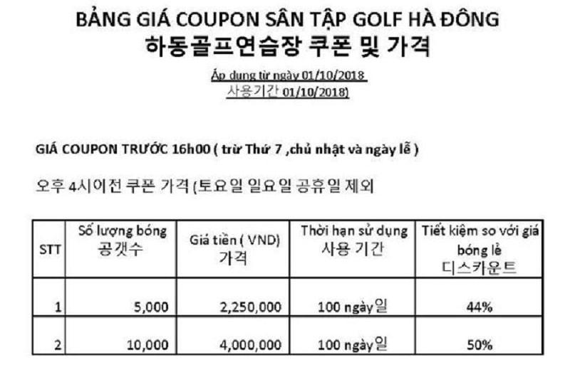 Bảng giá tại sân golf