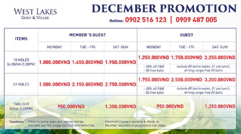 Chi tiết bảng giá sân golf Tân Mỹ (West Lakes Golf Club & Villas)