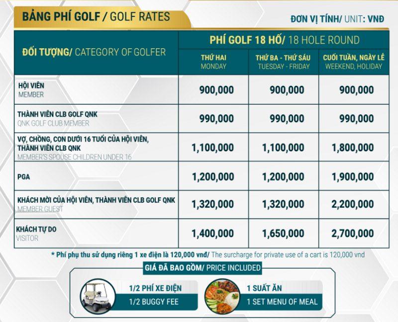 Giá chơi golf tại đây không quá cao so với mặt bằng chung