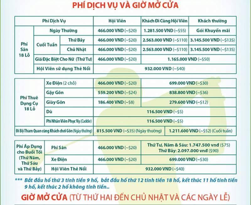 Bảng giá các dịch vụ tại sân golf Phú Mỹ