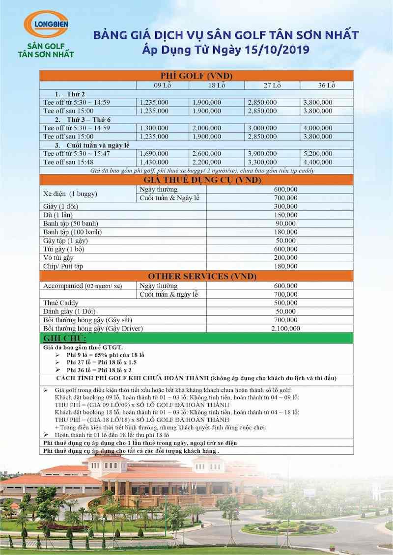 Bảng giá dịch vụ sân golf Tân Sơn Nhất