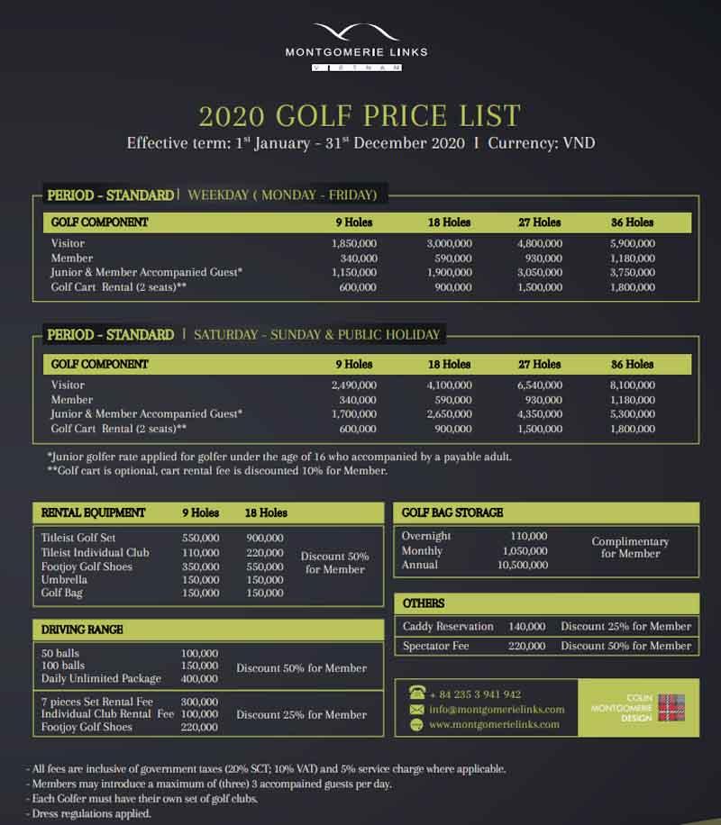 Bảng giá chi tiết sân golf Đà Nẵng