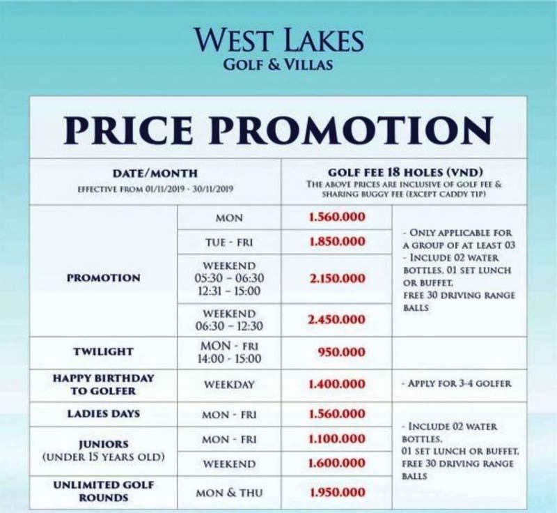 Bảng giá chơi golf và dịch vụ.