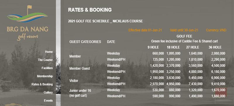 Bảng giá chi tiết golfer có thể tham khảo