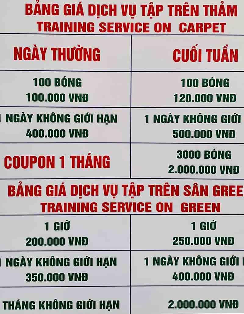 Bảng giá chi tiết dịch vụ tại sân tập golf Quảng Trị