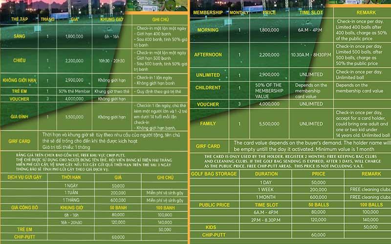 Bảng giá dịch vụ sân tập golf Xuân Thủy, Đà Nẵng