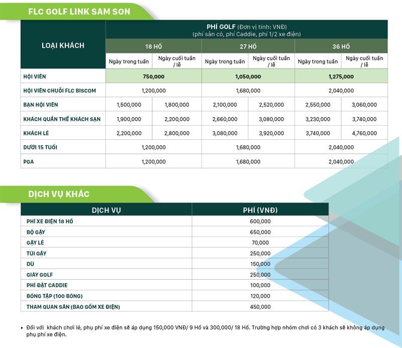 Bảng giá dịch vụ tại sân golf cho gôn thủ tham khảo