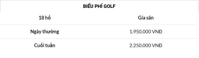 Bảng giá chi tiết dịch vụ tại sân golf Quốc tế Móng Cái tại Quảng Ninh