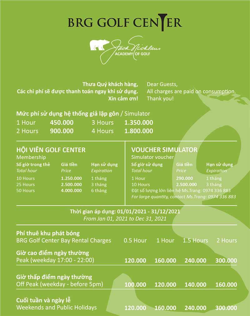 Bảng giá dịch vụ tại BRG Golf Centre